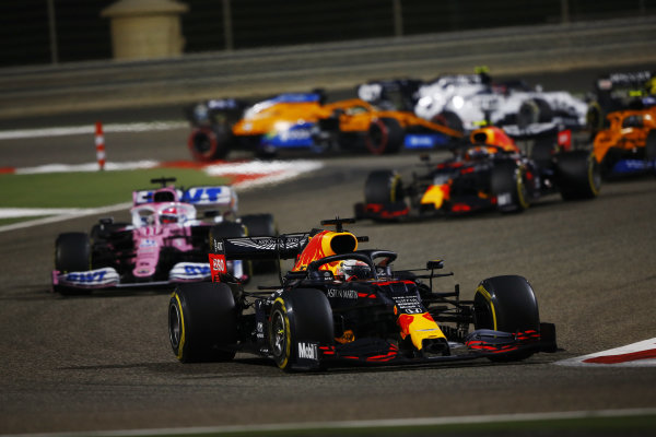 Max Verstappen, Red Bull Racing RB16, leads Sergio Perez, Racing Point RP20, and Alexander Albon, Red Bull Racing RB16