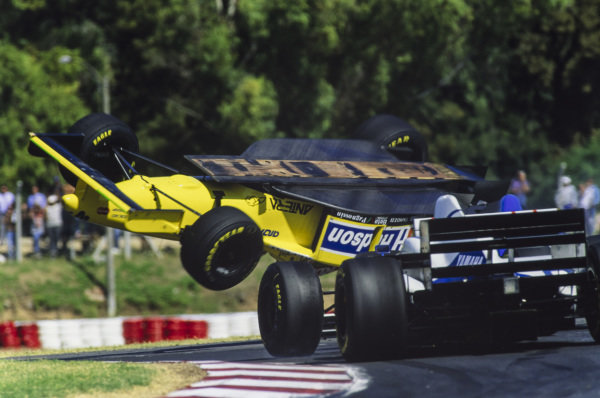 Pedro Diniz, Ligier JS43 Mugen-Honda, hits Luca Badoer, Forti FG01B Ford, causing the latter to flip over and end up upside down in the gravel trap.