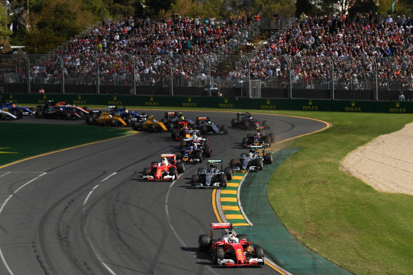 Sebastian Vettel (GER) Ferrari SF16-H leads at the start of the race at Formula One World Championship, Rd1, Australian Grand Prix, Race, Albert Park, Melbourne, Australia, Sunday 20 March 2016. BEST IMAGE