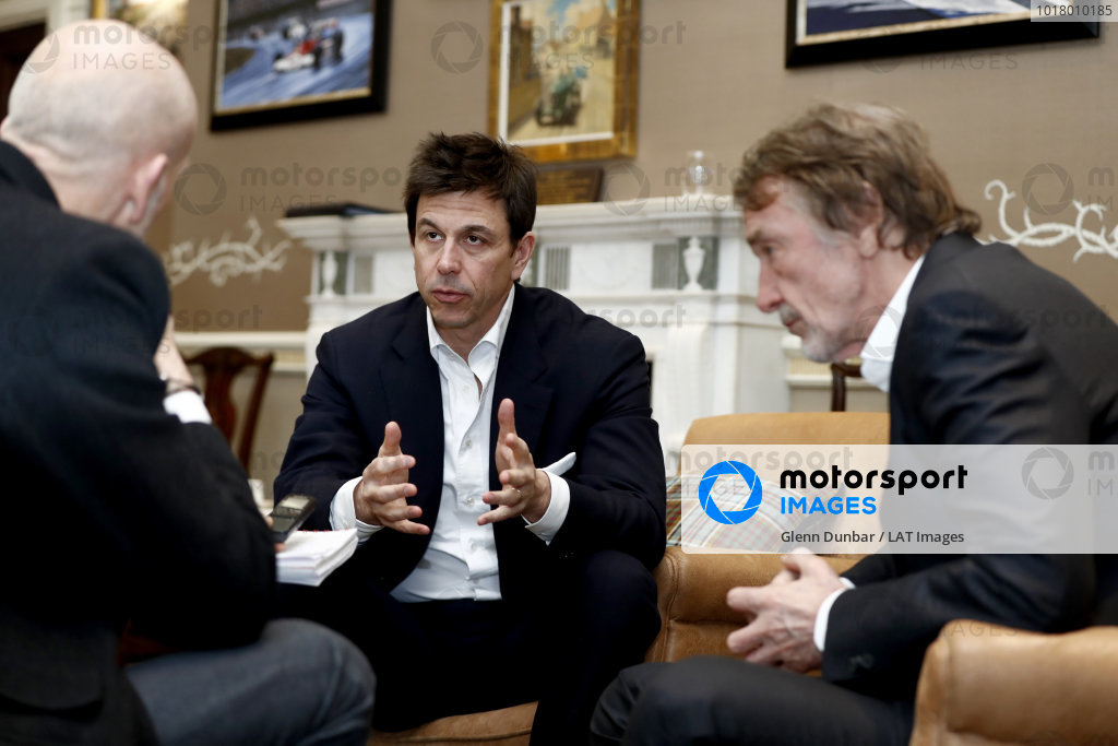 Sir Jim Ratcliffe chairman and chief executive officer of the Ineos chemicals group and Toto Wolff, Executive Director (Business), Mercedes AMG speak to the media after revealing the 2020 F1 livery.