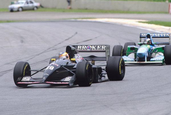 1994 Brazilian Grand Prix.Interlagos, Sao Paulo, Brazil. 25-27 March 1994.Karl Wendlinger (Sauber C13 Mercedes) 6th position.Ref-94 BRA 46.World Copyright - LAT Photographic