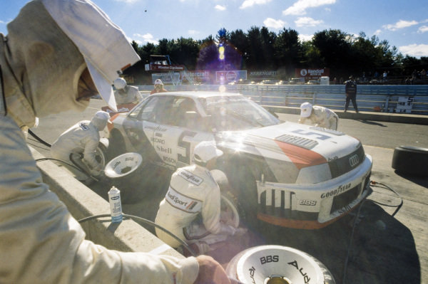 Hurley Haywood, Audi 90 quattro, makes a pitstop.