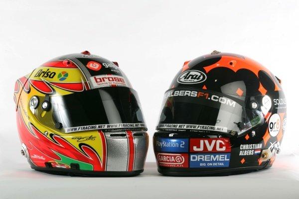 The helmets of Tiago Monteiro (POR) Midland MF1 Racing and Cristijan Albers (NED) Midland MF1 Racing.Midland MF1 Racing, Driver Studio Shoot, Silverstone, England, 2 February 2006. DIGITAL IMAGE