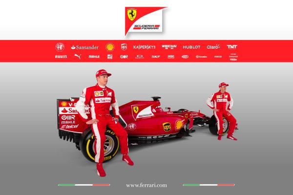 Ferrari SF-15T Reveal 30 January 2015 Kimi Raikkonen and Sebastian Vettel with the new Ferrari SF-15T. Photo: Ferrari (Copyright Free FOR EDITORIAL USE ONLY) ref: Digital Image 150006eve