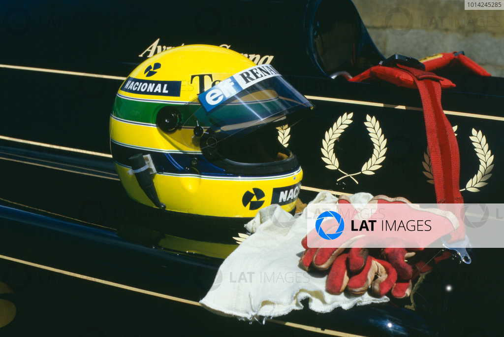 1985 German Grand Prix. Nurburgring, Germany. 2nd - 4th August 1985. Ayrton Senna (Lotus 97T-Renault), helmet and gloves. World Copyright: LAT Photographic. Ref:  85GER36.