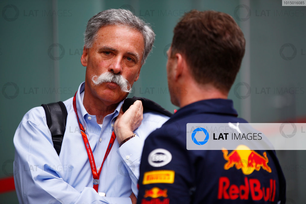 Interlagos, Sao Paulo, Brazil. Friday 10 November 2017. Chase Carey, Chairman, Formula One, with Christian Horner, Team Principal, Red Bull Racing. World Copyright: Andy Hone/LAT Images  ref: Digital Image _ONY7944