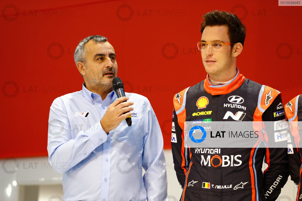 Autosport International Exhibition. National Exhibition Centre, Birmingham, UK. Thursday 11th January 2017. Thierry Neuville on the Autosport Stage. World Copyright: Ashleigh Hartwell/LAT Images ref: Digital Image _R3I8083