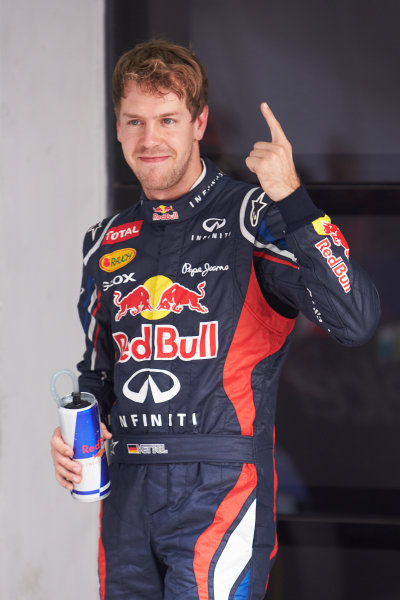 2012 Indian Grand Prix - Saturday Buddh International Circuit, New Delhi, India. 27th October 2012. Sebastian Vettel, Red Bull Racing, celebrates pole. World Copyright:Steve Etherington/LAT Photographic ref: Digital Image SNE27262 copy