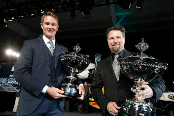 6 December, 2012, Indianapolis, Indiana, USA Ryan Hunter-Reay and Michael Andretti with their Astor Cups.(c) 2012, Michael L. Levitt LAT Photo USA