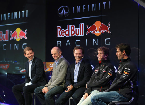 Milton Keynes, UK 3rd February 2013 .(L-R) Simon Sproule, Infiniti Corporate Vice-President Global Marketing, Adrian Newey, Chief Technical Officer, Christian Horner, Team Principle, Mark Webber of Australia, and Sebastian Vettel of Germany talk to the guests Photo: Richard Heathcote/Getty Images/Red Bull Racing () ref: Digital Image 160597325_10