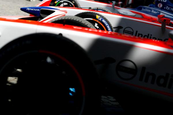 Cars of Felix Rosenqvist (SWE), Mahindra Racing, Mahindra M4Electro, and Nick Heidfeld (GER), Mahindra Racing, Mahindra M4Electro.