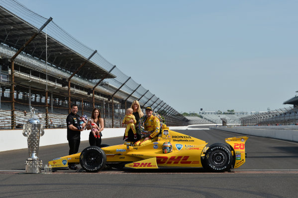 Indy 500 winner Ryan Hunter-Reay (USA) Andretti Autosport with wife Beccy Hunter-Reay (USA) and son Ryden Hunter-Reay (USA) and team owner Michael Andretti (USA) and wife Jodi Ann Paterson (USA).Verizon IndyCar Series, Rd4, Indianapolis 500, Indianapolis, USA, 26 May 2014.