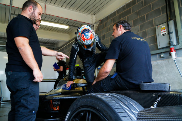 FIA Formula E Season 3 Testing - Day Two. Donington Park Racecourse, Derby, United Kingdom. Jean-Eric Vergne, Techeetah, climbs into the cockpit of his Spark-Renault. Wednesday 24 August 2016. Photo: Adam Warner / LAT / FE. ref: Digital Image _14P2900