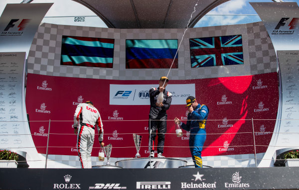 2017 FIA Formula 2 Round 5. Red Bull Ring, Spielberg, Austria. Sunday 9 July 2017. Alexander Albon (THA, ART Grand Prix), Artem Markelov (RUS, RUSSIAN TIME) and Oliver Rowland (GBR, DAMS).  Photo: Zak Mauger/FIA Formula 2. ref: Digital Image _54I0421