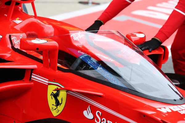 Silverstone, Northamptonshire, UK.  Friday 14 July 2017. Shield frontal protection system fitted to the car of Sebastian Vettel, Ferrari SF70H, for first practice. World Copyright: Charles Coates/LAT Images  ref: Digital Image AN7T4036