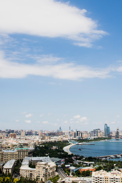 Baku City Circuit, Baku, Azerbaijan. Wednesday 21 June 2017. A view of the city from Dagustu (Upland) Park. World Copyright: Zak Mauger/LAT Images ref: Digital Image _56I5972