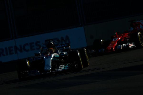 Baku City Circuit, Baku, Azerbaijan. Sunday 25 June 2017. Lewis Hamilton, Mercedes F1 W08 EQ Power+, leads Sebastian Vettel, Ferrari SF70H. World Copyright: Andrew Hone/LAT Images ref: Digital Image _ONY8525