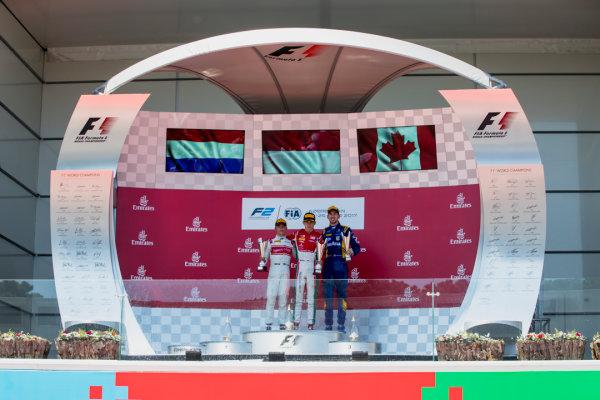 2017 FIA Formula 2 Round 4. Baku City Circuit, Baku, Azerbaijan. Saturday 24 June 2017. Nyck De Vries (NED, Rapax), Charles Leclerc (MCO, PREMA Racing) and Nicholas Latifi (CAN, DAMS)  Photo: Zak Mauger/FIA Formula 2. ref: Digital Image _56I7739