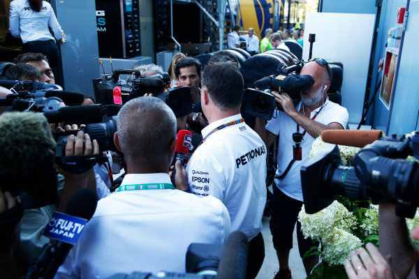 Autodromo Nazionale di Monza, Monza, Italy. Sunday 6 September 2015. Mercedes representatives speak to the media after an FIA stewards enquiry concerning Mercedes' tyre pressures. World Copyright: Jed Leicester/LAT Photographic ref: Digital Image _L2_9477
