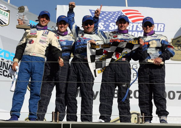 19 May, 2007, Monterey, California, USA The team TRG Porsch edrivers, left to right, Dniel DiLeo, Ross Smith, Kevin Buckler, Andy Lally and R. J. Valentine celebrate after finishing first and second in Saturday's GT race. ©2007, Brian Cleary , USA LAT Photographic