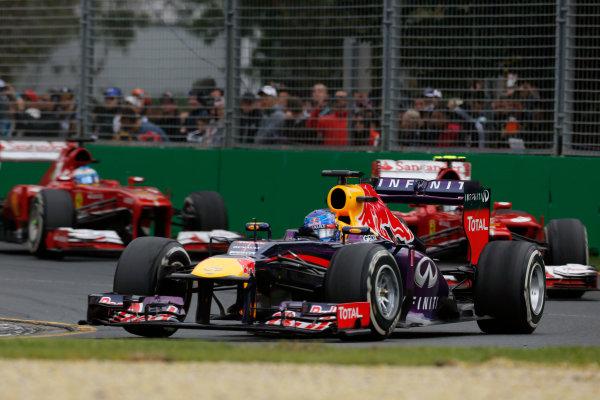 Albert Park, Melbourne, Australia Sunday 17th March 2013 Sebastian Vettel, Red Bull RB9 Renault, leads Felipe Massa, Ferrari F138, and Fernando Alonso, Ferrari F138.  World Copyright: Charles Coates/  ref: Digital Image _N7T7378
