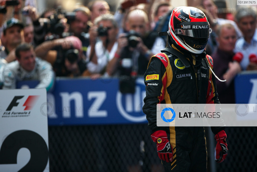 Shanghai International Circuit, Shanghai, China Sunday 14th April 2013 Kimi Raikkonen, Lotus F1, 2nd position, arrives in Parc Ferme. World Copyright: Andy Hone/LAT Photographic ref: Digital Image HONZ7686