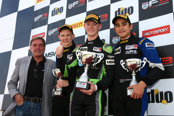 2016 BRDC F3 Championship, Donington Park, Leicestershire. 10th - 11th September 2016. Race 2 Podium (l-r) Dick Bennetts (NZL), Thomas Maxwell (AUS) Sean Walkinshaw Racing BRDC F3, Toby Sowery (GBR) Lanan Racing BRDC F3, Eugene Denyssen (RSA) Sean Walkinshaw Racing BRDC F3. World Copyright: Ebrey / LAT Photographic.
