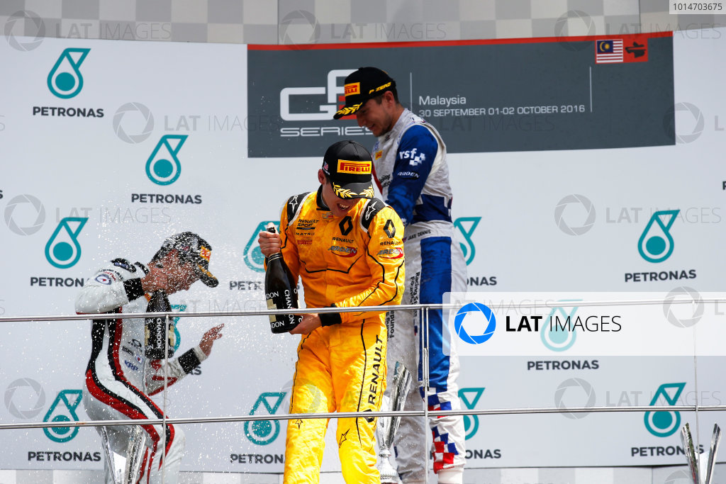 Jake Dennis (GBR, Arden International) Nirei Fukuzumi (JPN, ART Grand Prix) and Jack Aitken (GBR, Arden International)  2016 GP3 Series Round 8 Sepang International Circuit, Sepang, Malaysia. Sunday 2 October 2016  Photo: Sam Bloxham/GP3 Series Media Service ref: Digital Image _SLA4853