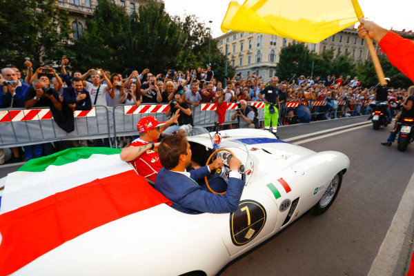 Autodromo Nazionale di Monza, Italy. Thursday 31 August 2017. Kimi Raikkonen, Ferrari, at the parade in Milan. World Copyright: Steven Tee/LAT Images  ref: Digital Image _R3I2560