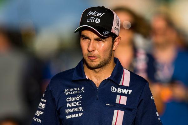 Sepang International Circuit, Sepang, Malaysia. Saturday 30 September 2017. Sergio Perez, Force India. World Copyright: Zak Mauger/LAT Images  ref: Digital Image _X0W8048
