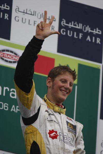 2008 GP2 Asia Series. Saturday Race.Bahrain International Circuit. Sakhir, Bahrain. 5th April. Romain Grosjean (FRA, ART Grand Prix) celebrates victory. World Copyright: Glenn Dunbar/GP2 Series Media Service. Service ref:__O9T0375 jpg