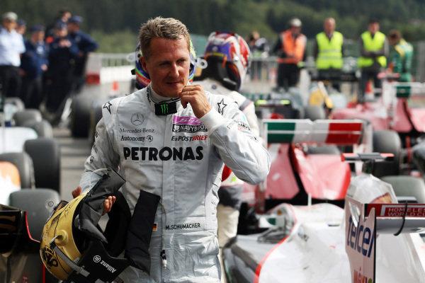 Michael Schumacher (GER) Mercedes GP in parc ferme. Formula One World Championship, Rd 12, Belgian Grand Prix, Race, Spa-Francorchamps, Belgium, Sunday 28 August 2011.  BEST IMAGE