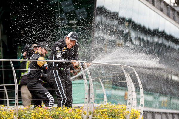 12-14 May, 2016, Indianapolis, Indiana, USA Helio Castroneves, James Hinchcliffe celebrate with champagne  ?2016, Sam Cobb LAT Photo USA