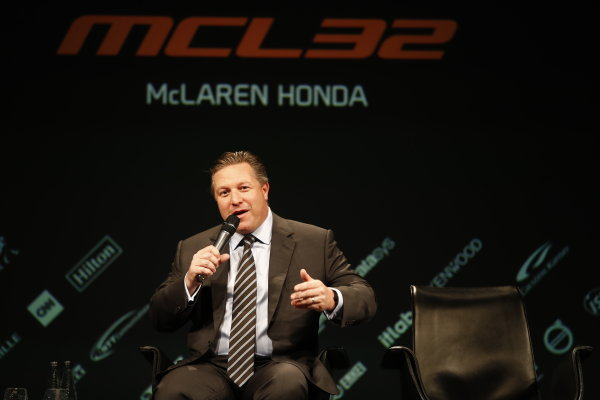 McLaren MCL32 Honda Formula 1 Launch. McLaren Technology Centre, Woking, UK. Friday 24 February 2017. Zak Brown, Executive Director of McLaren Technology Group, is interviewed on stage. World Copyright: Glenn Dunbar/LAT Images Ref: _X4I9426