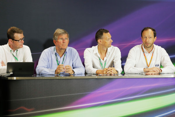 Monte Carlo, Monaco. Friday 26 May 2017. Ian Burrows, Nigel Geach, Charles Bradley and Peter Bayer, FIA Secretary General for Motor Sport at the F1 Motorsport Network Global Fan Survey Press Conference. World Copyright: Zak Mauger/LAT Images ref: Digital Image _56I6653