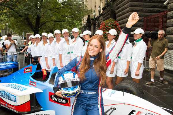 Georgia Geminder (AUS) 2014 Australian Grand Prix Ambassador and Swisse Two Seater at Melbourne Town Hall. Formula One World Championship, Rd1, Australian Grand Prix, Preparations, Albert Park, Melbourne, Australia, Tuesday 11 March 2014.