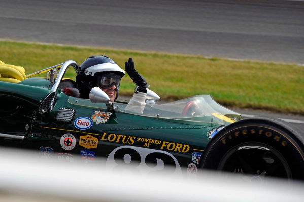 24 May, 2015, Indianapolis, Indiana, USA 3-time winner Dario Franchitti takes a lap of the track during pre-race festivities in hero Jim Clark's 1965 Indy 500 winning Lotus. ?2015, F. Peirce Williams LAT Photo USA