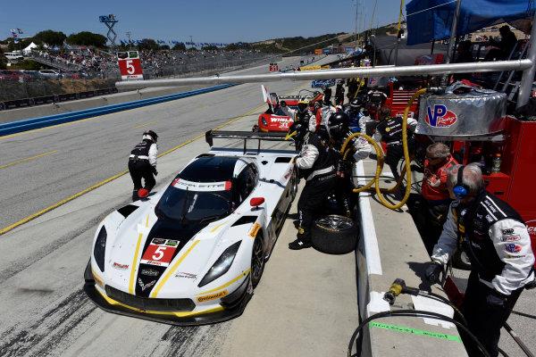1-3 May, 2015, Monterey, California, USA 5, Chevrolet, Corvette DP, P, Joao Barbosa, Christian Fittipaldi, pit stop ?2015 Scott R LePage  LAT Photo USA