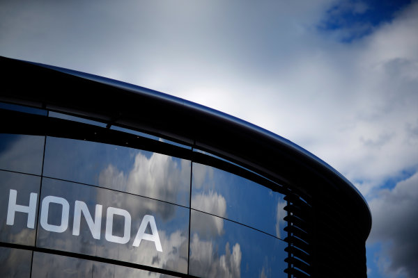 Red Bull Ring, Spielberg, Austria. Friday 19 June 2015. Honda logo on the Brand Centre. World Copyright: Alastair Staley/LAT Photographic. ref: Digital Image _R6T0791