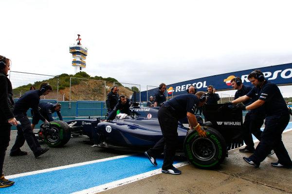 2014 F1 Pre Season Test 1 - Day 2 Circuito de Jerez, Jerez, Spain. Wednesday 29 January 2014. Valtteri Bottas, Williams FW36 Mercedes arrives back in the pits. World Copyright: Alastair Staley/LAT Photographic. ref: Digital Image _A8C8470.JPG
