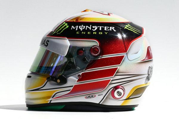 Albert Park, Melbourne, Australia. Thursday 13 March 2014. The helmet of Lewis Hamilton (GBR) Mercedes AMG F1. World Copyright: xpb Images/LAT Photographic. ref: Digital Image 2014helmets09