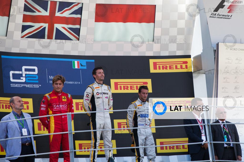2014 GP2 Series. Round 9.   Autodromo di Monza, Monza, Italy. Sunday 7 September 2014. Stefano Coletti (MON, Racing Engineering), Jolyon Palmer (GBR, DAMS) and Stephane Richelmi (MON, DAMS). Photo: Zak Mauger/GP2 Series Media Service. ref: Digital Image IMG_9581