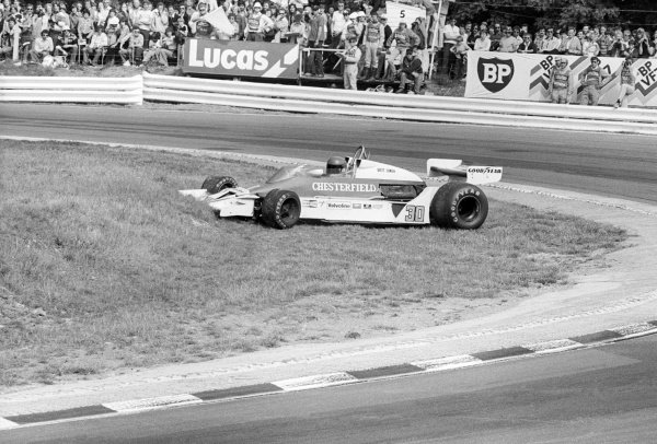 Brett Lunger (USA) Liggett Group McLaren M26, recovers from a spin at Paddock Hill Bend en route to finishing in eighth position.