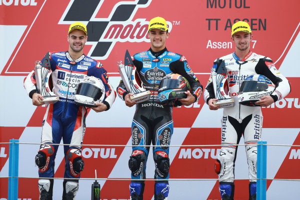 2017 Moto3 Championship - Round 8 Assen, Netherlands Sunday 25 June 2017 Podium: second place Romano Fenati, Marinelli Rivacold Snipers, Race winner Aron Canet, Estrella Galicia 0,0, third place John McPhee, British Talent Team World Copyright: David Goldman/LAT Images ref: Digital Image 680126