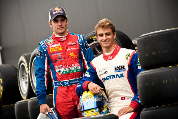 Round 5. Nurburgring, Germany. 21st July 2011.Thursday Preview. Nico Muller, (SUI, Jenzer Motorsport) and Lewis Williamson, (GBR, MW Arden), winners of races 7 and 8 at round 4 in Silverstone. Portrait. Photo: Drew Gibson/GP3 Media Service.  ref: Digital Image _Y2Z3750