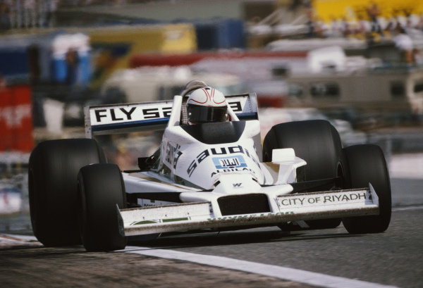 Alan Jones, Williams FW06 Ford, during practice.