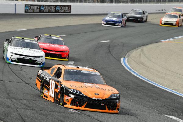#18: Daniel Hemric, Joe Gibbs Racing, Toyota Supra Poppy Bank, #11: Justin Haley, Kaulig Racing, Chevrolet Camaro LeafFilter Gutter Protection