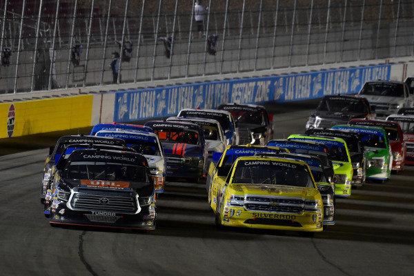 #4: Todd Gilliland, Kyle Busch Motorsports, Toyota Tundra JBL/SiriusXM, #2: Cody Coughlin, GMS Racing, Chevrolet Silverado GOD BLESS THE BROKEN ROAD