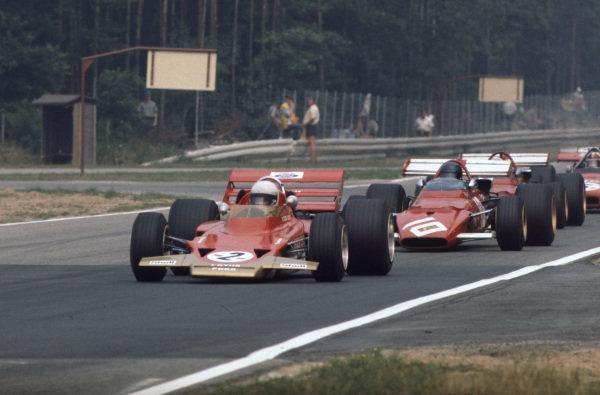 Jochen Rindt, Lotus 72C Ford, 1st, leads, Jacky Ickx, Ferrari 312B, 2nd.