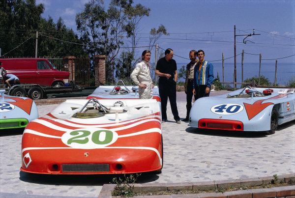 Porsche 908 presentation with Jo Siffert, John Wyer, Porsche's Ferdinand Piech and Vic Elford.
